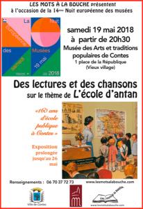 L'école d'antan lors de la 14ème nuit européenne des musées 2018