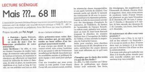 article de presse du journal le patriote sur la lecture scénique MAIS 68