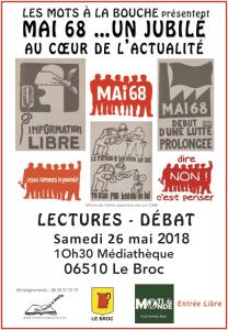 présentation de la lecture débat Mai 68 de l'association les mots àla bouche
