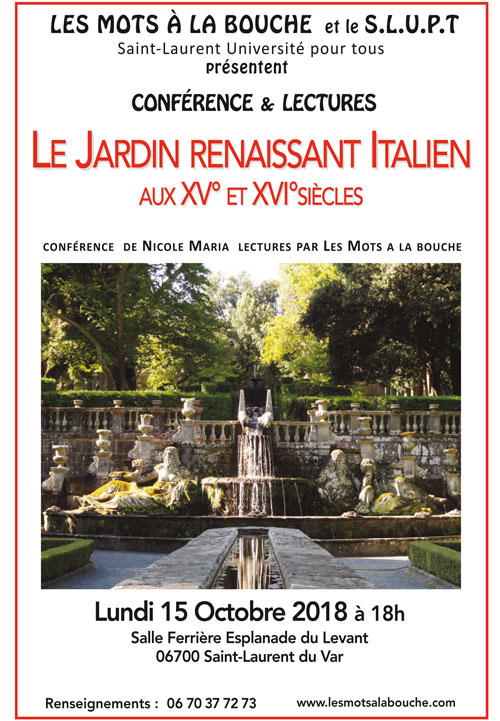 """Conférence lecture """"Le jardin renaissant"""" Les mots à la bouche association culturelle"""