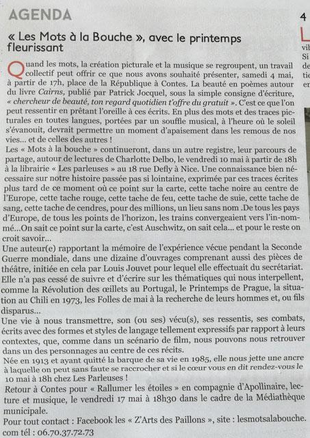 Agenda des Mots à la bouche pour le mois de mai dans la lettre du Paillon