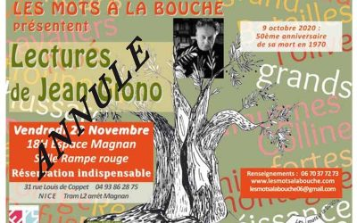 Lectures de Jean Giono. On annule mais on continue !